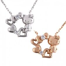 Hello Kitty Open Heart Ribbon Necklace Pendant made in Japan free shipping Gift