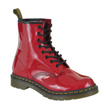 Dr Martens Boots - Red 1460 Patent Footwear - Shin Length Leather Shoes