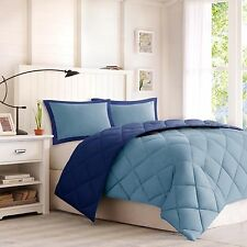 NEW Twin XL Full Queen King 3 pc Navy Blue Reversible Comforter Set Dorm Bed NWT