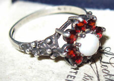 VINTAGE Hallmarked Sterling Silver Bohemian Cluster Garnet Opal Stone RING N