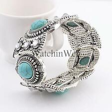 Fashion Tibetan Silver Jewelry Beads Bangle Turquoise Bracelet Cuff