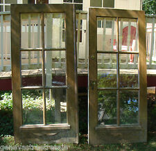 2 ~ Antique Architectural Salvage Reclaimed 80x36 Solid Oak French Doors 6 pane