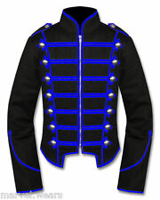 Men's Handmade Black/Blue Military Marching Band Drummer Jacket New Style