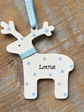 Personalised Christmas Reindeer Tree Decoration Wooden Blue Pink Spots