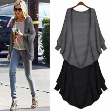 Womens Loose Batwing Sleeve Cardigan Sweater Coat Casual Poncho Jacket Cape Tops
