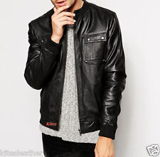 New Trendy Designer Awesome Real Soft Lambskin Leather Bomber Jacket For Men M29
