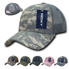 New DECKY Structured Camo Trucker Pre Curved Bill 100% Cotton Caps Hats Hat Cap