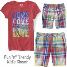 NWT PS Aeropostale Girls Size 8 Kids Plaid Shorts & Tee Shirt Top 2-PC OUTFIT