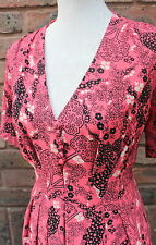 Pearl Lowe Peacocks 40s 50s Vintage Style Coral Floral Tree Print Dress Size 16