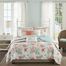 NEW Full Queen Cal King Bed Coral Teal Beach Starfish 6 pc Quilt Set Coverlet