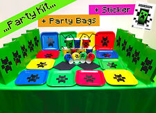 Birthday Colour Party Kit Plates Cups Party Bags with Official Minecraft Sticker