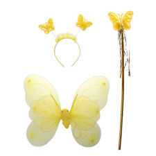 Kids Girl Fairy Princess Christmas Costume Set of Butterfly Wing Wand Headband