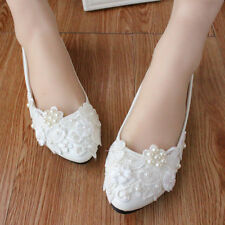 2016 Wedding shoes lace pearl white Bridal flats low heel high heels pumps size