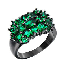 Size 6-10 Women's 10Kt Black Gold Filled Wedding Ring Emerald Full of Green Band