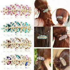 Women Lady Crystal Rhinestone Flower Hair Barrette Clip Hairpin Jewelry Fashion