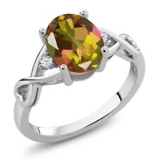 1.85 Ct Oval Mango Mystic Topaz White Topaz 14K White Gold Ring