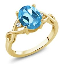 1.85 Ct Oval Swiss Blue Topaz White Topaz 18K Yellow Gold Ring