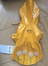 KLIPPO DOG CLOTHES - YELLOW RAINCOAT/DAISIES  WITH HOOD ! New with Tags-LOOK!