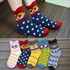 Fashion Women's Korean Mid-Calf Socks Cartoon Soft Owl Print Cotton Socks Nobby