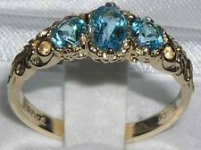 Ladies Solid 14K Yellow Gold Natural Blue Topaz English Victorian Trilogy Ring