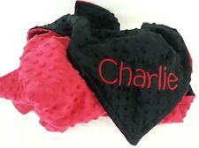 Handmade, Personalized Minky Baby Blanket - Black and Red
