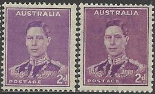 Australia 1941 2d KGVI SHADES, Bright/Deep Purple, Unhinged Mint, SG 185