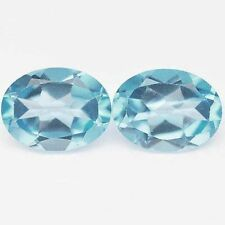 4.25 CTS FANTASTIC LOOKING OVAL SHAPE BLUE TOPAZ CHECKER CUT LOOSE GEMSTONE PAIR