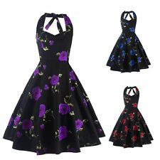 Vintage Style Women Floral Printed Swing Pinup Halter Backless Party Prom Dress