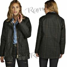 New Womens Ladies Check Wax Effect Jacket Long Sleeve Cotton Front Pockets Coat