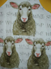 Sheep Apron NEW Wooly White Sheep Adult Size 100% Cotton Leonardo Collection