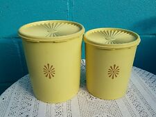 2 Vintage 1960's Fan-Lid Tupperware Tub Retro Pattern Caramel Storage Containers