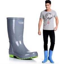 Mens Rubber Flat Waterproof Shoes Round Toe Motorcycle Mid-calf Rain Boots M01