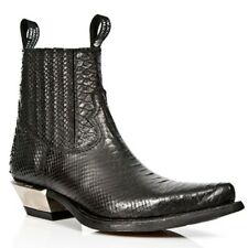New Rock Black Snakeskin Patterned Black Ankle Cowboy Boots