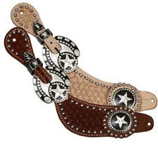 Showman Mens Spur Straps w/ Silver Engraved Texas Star Conchos! FREE SHIPPING!