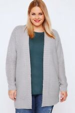 Plus Size Grey Knitted Longline Cardigan With Ribbed Border
