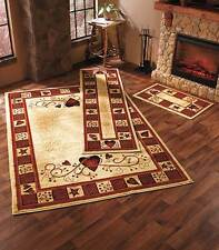 Decorative Rug Collection Hearts Stars Berries Accent or Runner or Area Country