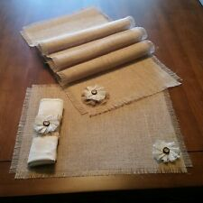 Burlap Table Runners, Placemats & Napkin Rings w/White Flower Accent Set of 4or6