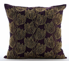 Beaded Gold Tulips Flower Purple Art Silk 40x40 cm Cushions Cover - Gold Tulips