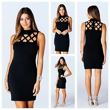 WOMENS LADIES LASER CUT CAGE CUT OUT SLEEVELESS  HIGH NECK BODYCON PARTY DRESS