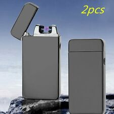 2X USB Electric Dual Arc Metal Flameless Torch Rechargeable Windproof Lighter LC