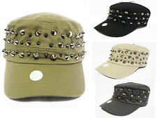 New hunter metal studded Classic  Army Cadet Military Flat Top Vintage Cap Hat