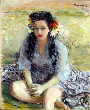 Dimitrie Berea, Beautiful Black-Haired Girl with Blue Eyes, Oil Painting