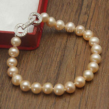 s352 Beautiful AAA 7-8mm 8-9mm pink white Freshwater Pearl bracelets hot sell