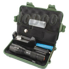 5000LM Zoom XML T6 LED Tactical Flashlight Torch + 18650 Battery + Charger +Case