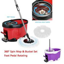 Microfiber 360° Spin Mop Magic Mop with Bucket Set Foot Pedal W 2 Mop Head V5Z1