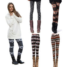Womens Winter Warm Xmas Leggings Skinny Trousers Stretchy Knitted Pencil Pants