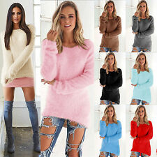 Womens Long Sleeve Velvet Fluffy Loose Winter Sweater Ladies Pullover Jumper Top