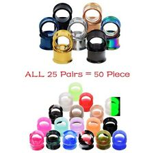 25PAIRS EAR TUNNELS-SILICONE EAR GAUGES KITS-STAINLESS STEEL EAR EXPANDERS PLUGS