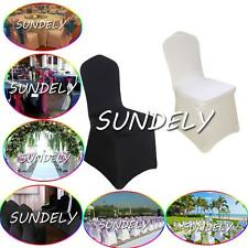 SPANDEX CHAIR COVERS Wedding Party Lycra Cover - White Ivory Black UNIVERSAL FIT