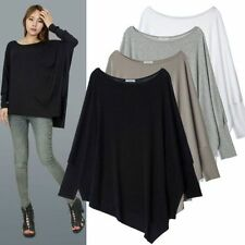 Solid Color Lady Oversized T shirt Blouse Crewneck Casual Loose Batwing Tops